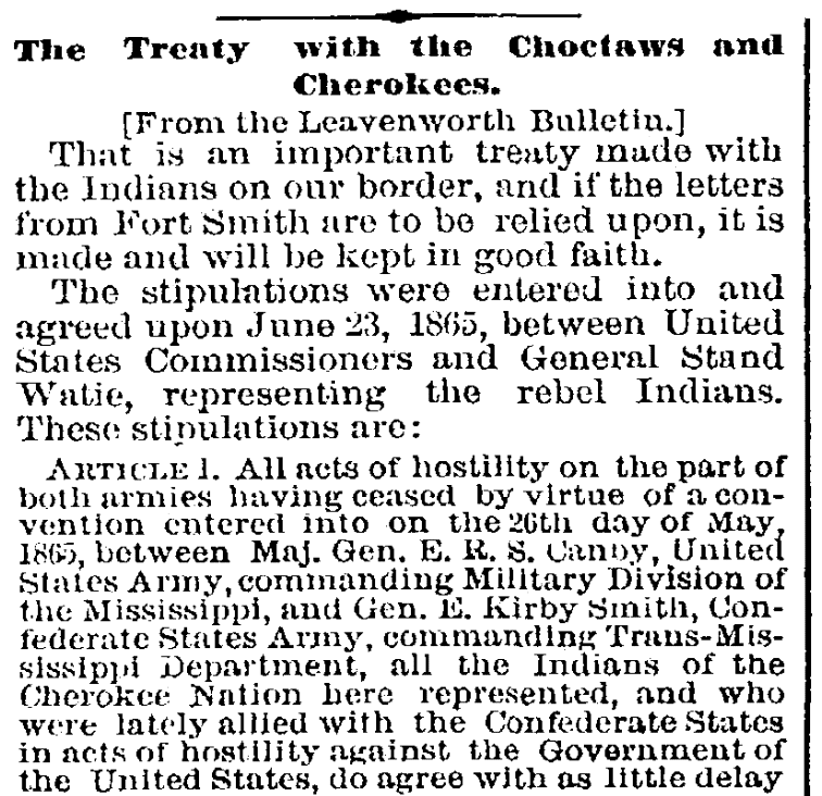 An article about the surrender of the Cherokees at the end of the Civil War, Age newspaper article 1 August 1865