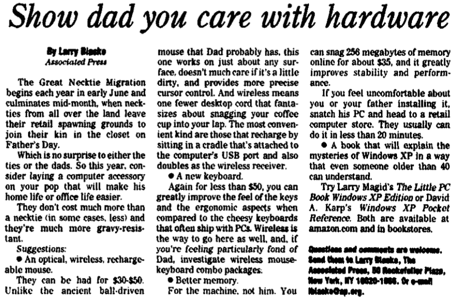 An article about neckties, Augusta Chronicle newspaper article 28 May 2003