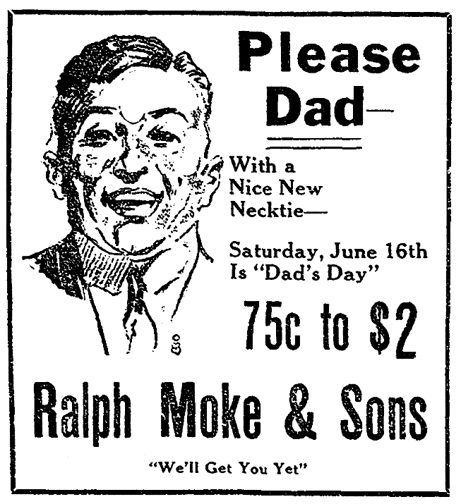 An ad for neckties, Beaumont Journal newspaper advertisement 15 June 192