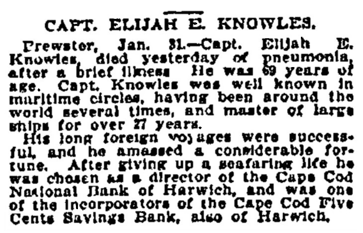 An obituary for Elijah Edwin Knowles, Boston Daily Advertiser newspaper article 1 February 1899