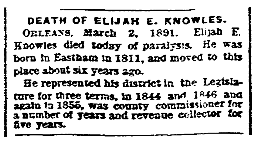 An obituary for Elijah Knowles, Boston Herald newspaper article 3 March 1891