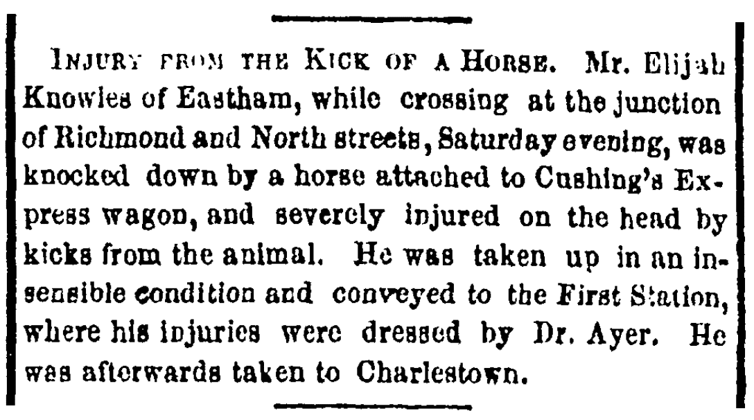 An article about Elijah Knowles' accident, Boston Herald newspaper article 12 November 1855