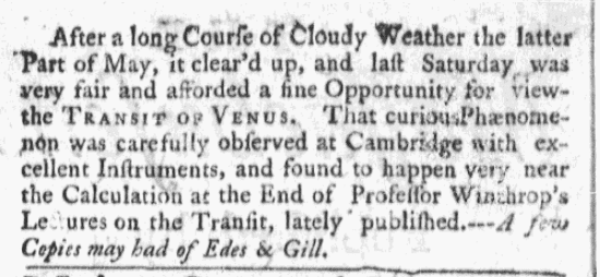 An article about the transit of Venus, Boston Post-Boy & Advertiser newspaper article 5 June 1769
