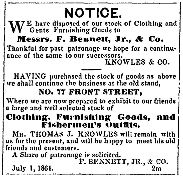 An ad for a clothing store, Cape Ann Light and Gloucester Telegraph newspaper advertisement 6 August 1864