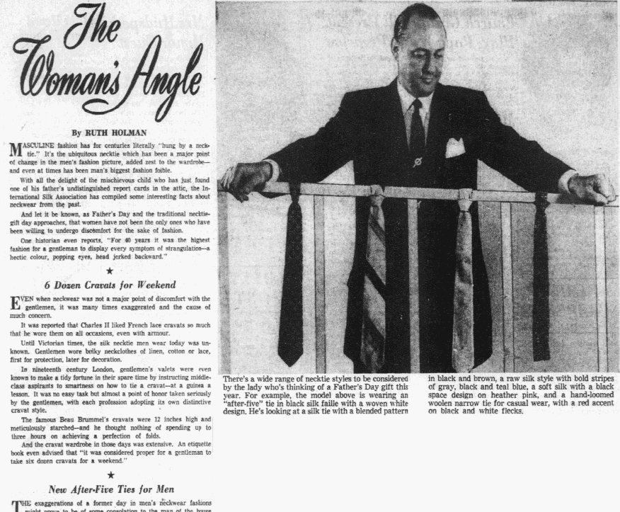 An article about neckties, Dallas Morning News newspaper article 14 June 1955