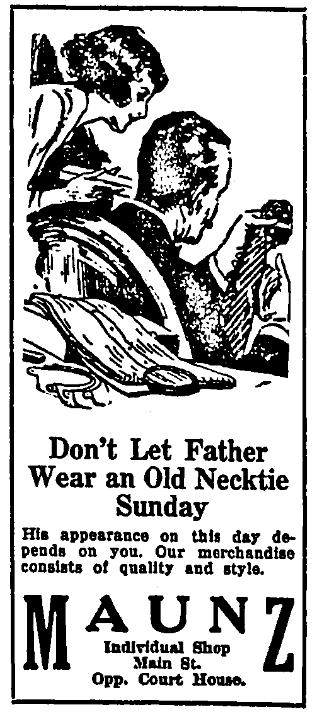 An ad for neckties, Fairmont West Virginian newspaper advertisement 6 October 1922