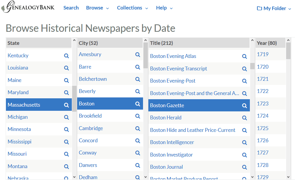 A screenshot of GenealogyBank's search by date feature