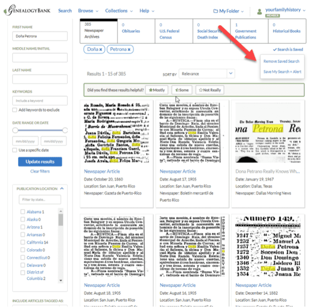 Photo: screenshot of GenealogyBank's Search Results page showing the Save My Search + Alert feature