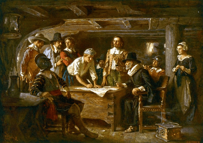 "Illustration: ""Signing the Mayflower Compact 1620,"" by Jean Leon Gerome Ferris, 1899"