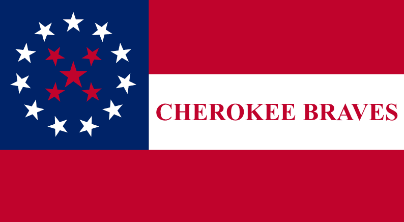 Illustration: the Cherokee Braves flag, as flown by Stand Watie's troops during the Civil War