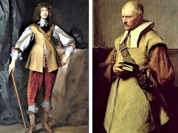 """Illustrations: Prince Rupert of the Rhine, often considered to be an archetypal Cavalier, by Anthony van Dyck, c. 1637, and a Roundhead, """"The Puritan,"""" by John Pettie, 1870. Credit: Wikimedia Commons."""