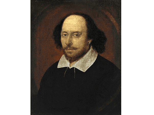 Illustration: William Shakespeare, by John Taylor(?), 1610. Credit: National Portrait Gallery, England; Wikimedia Commons.