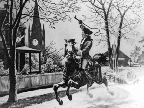 Illustration: the midnight ride of Paul Revere. Credit: National Archives and Records Administration; Wikimedia Commons.
