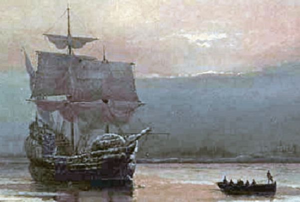 """Painting: """"Mayflower in Plymouth Harbor,"""" by William Halsall, 1882. Credit: Wikimedia Commons."""
