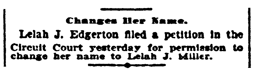 An article about name changes, Indianapolis Journal newspaper article 13 May 1903