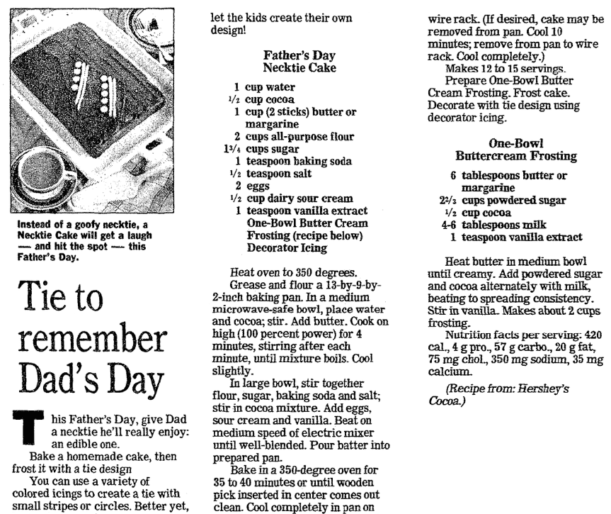 A cake recipe for Father's Day, Jersey Journal newspaper article 14 June 1995