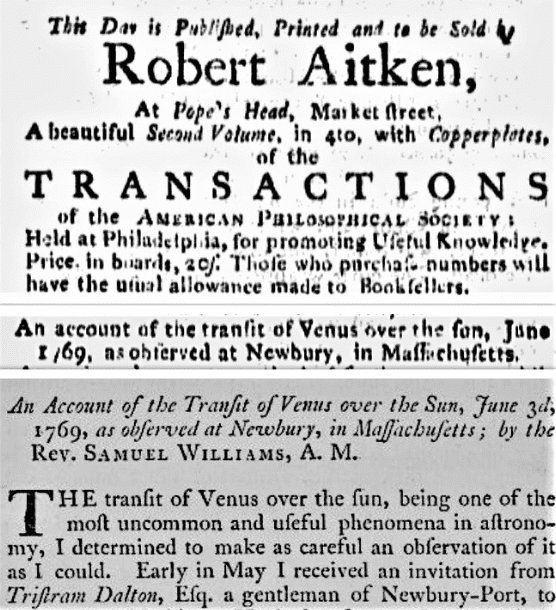 Montage: an ad for William's transit of Venus account from the Pennsylvania Packet (Philadelphia, Pennsylvania), 8 September 1786, page 3; and from the Transactions of the American Philosophical Society (Philadelphia, Pennsylvania), volume 2, 1786, page 246.