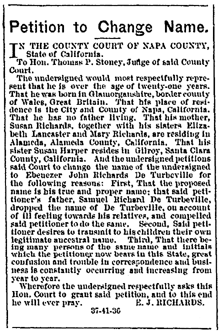 An article about name changes, Napa County Weekly Reporter newspaper article 10 March 1877