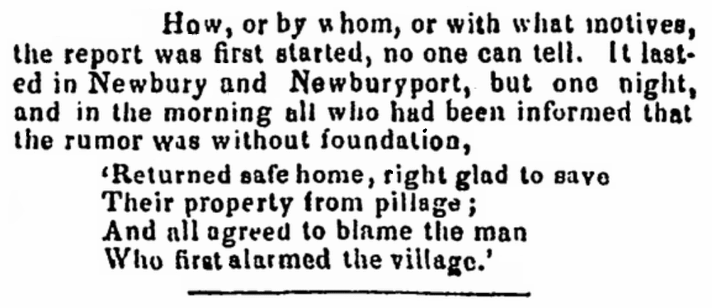 """An article about the """"Ipswich Fright,"""" Newburyport Herald newspaper article 18 July 1845"""