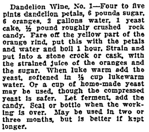 A dandelion recipe, Oregonian newspaper article 17 April 1914