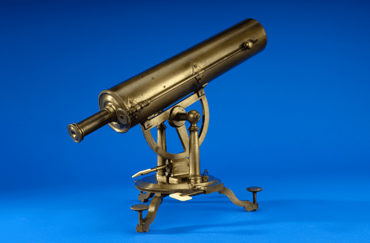 Photo: a telescope made in 1768-69 by Edward Nairne of London. Samuel Williams, a minister and professor of astronomy at Harvard College, used this telescope to observe the 1769 transit of Venus across the Sun.