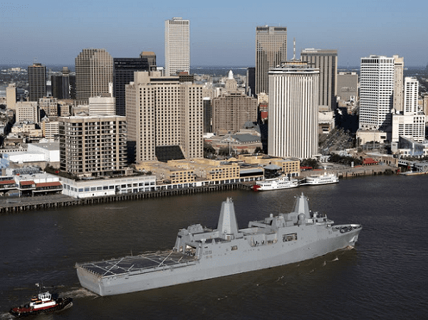 Photo: the USS New Orleans (LPD-18) passes by downtown New Orleans, Louisiana, on the Mississippi River, 1 June 2008. Credit: United States Navy; Wikimedia Commons.