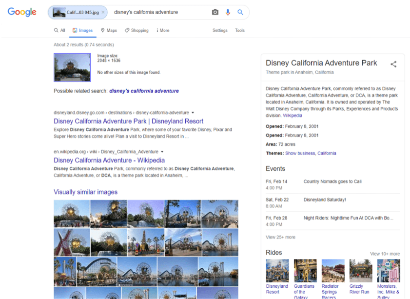 "Photo: screenshot of Google Images ""Search by Image"" results for photo of Disneyland's California Adventure"