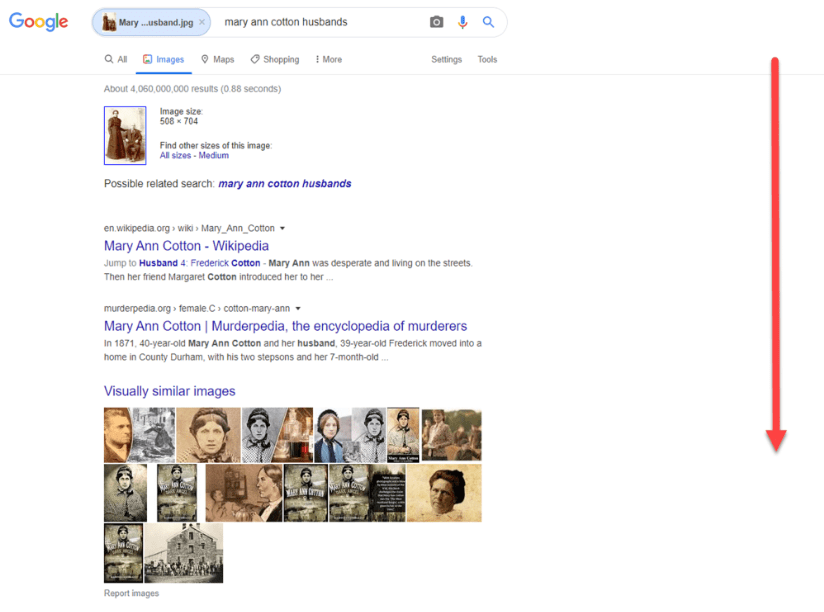 "Photo: screenshot of Google Images ""Search by Image"" results for photo of Mary Ann Smith McNeil and John C. McNeil"