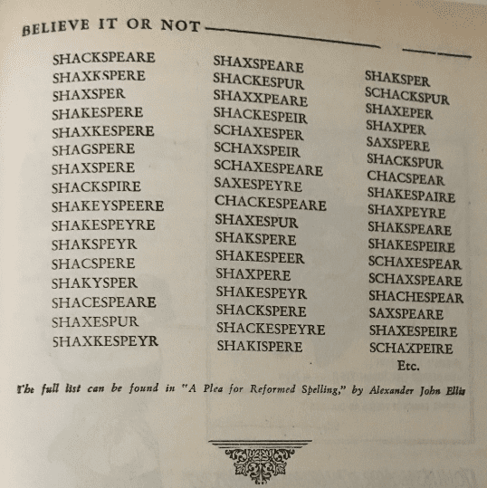 Photo: entry showing variations of Shakespeare's name