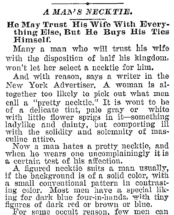 An article about neckties, Plain Dealer newspaper article 30 October 1892