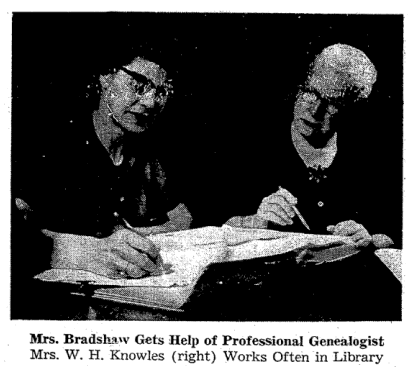 An article about genealogy featuring a photo of Mrs. Knowles, Richmond Times Dispatch newspaper article 3 March 1963