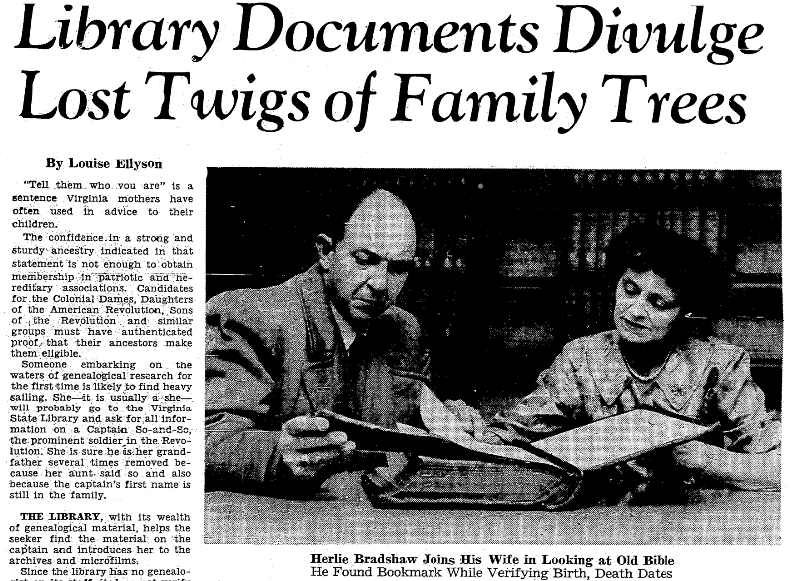 An article about genealogy, Richmond Times Dispatch newspaper article 3 March 1963