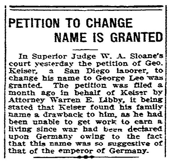 An article about name changes, San Diego Union newspaper article 4 August 1917