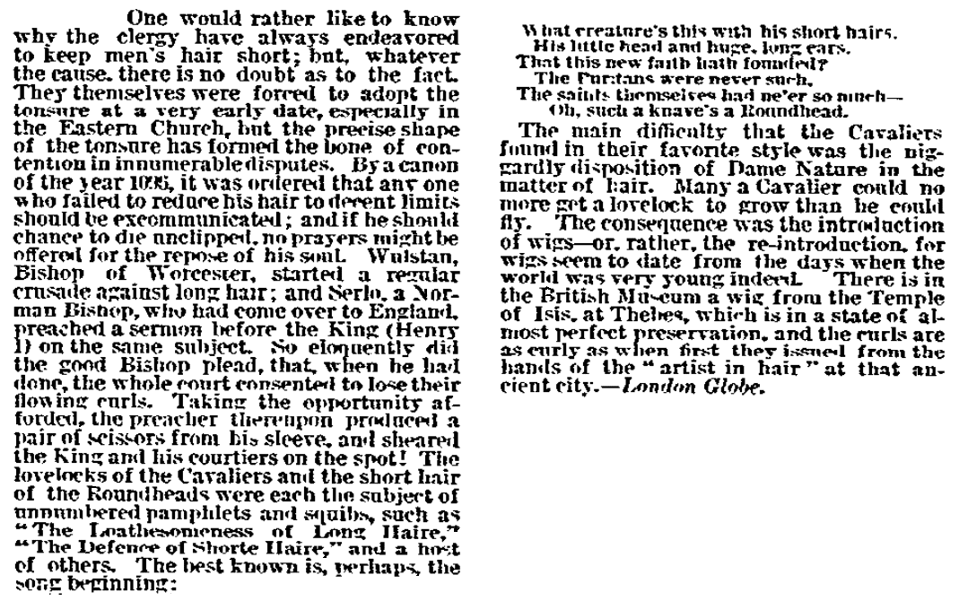 An article about hair fashion, San Francisco Bulletin newspaper article 27 September 1884