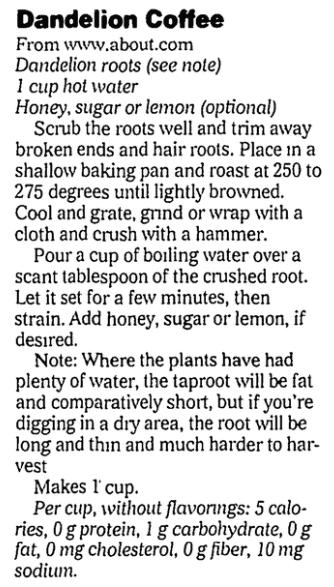 A dandelion recipe, State Journal-Register newspaper article 5 April 2006