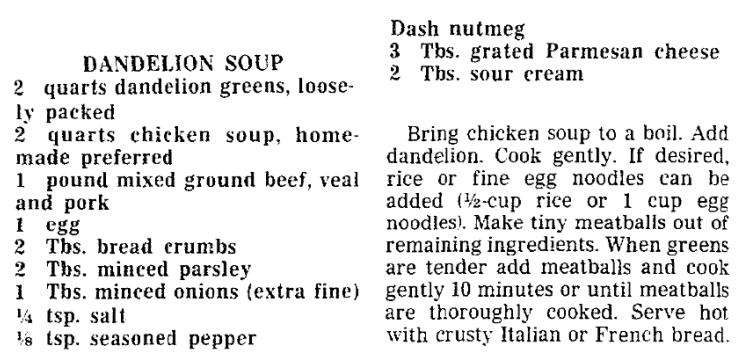 A dandelion recipe, Trenton Evening Times newspaper article 6 April 1988