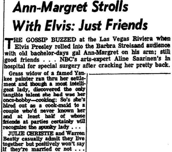An article about grass widows, Arkansas Gazette newspaper article 29 December 1970