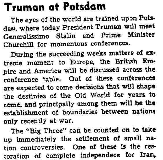 An article about the Potsdam Conference, Augusta Chronicle newspaper article 16 July 1945