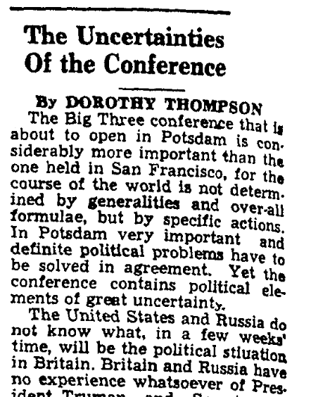 Dorothy Thompson's preview of the Potsdam Conference, Augusta Chronicle newspaper article 16 July 1945