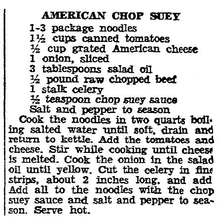A recipe for American Chop Suey, Boston Herald newspaper article 22 May 1935