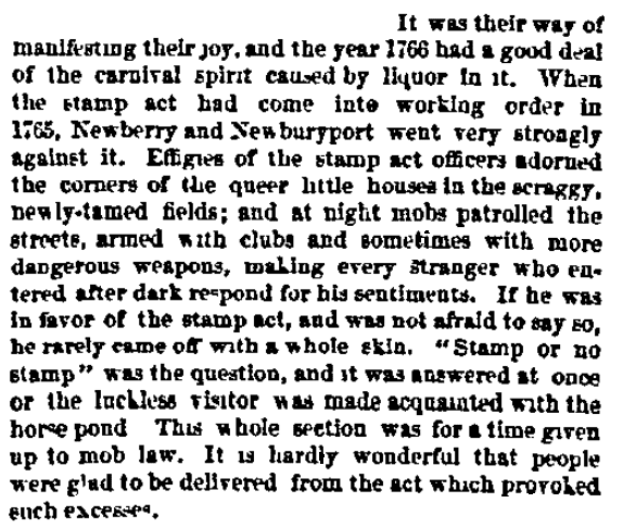 An article about the Stamp Act, Boston Journal newspaper article 6 January 1872