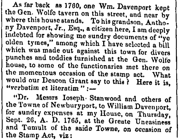 An article about a meeting protesting the Stamp Act, Boston Statesman newspaper article 31 July 1852