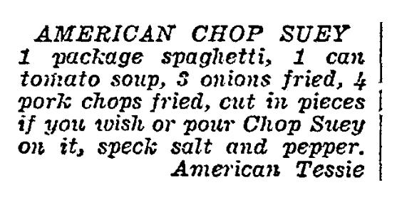 A recipe for American Chop Suey,