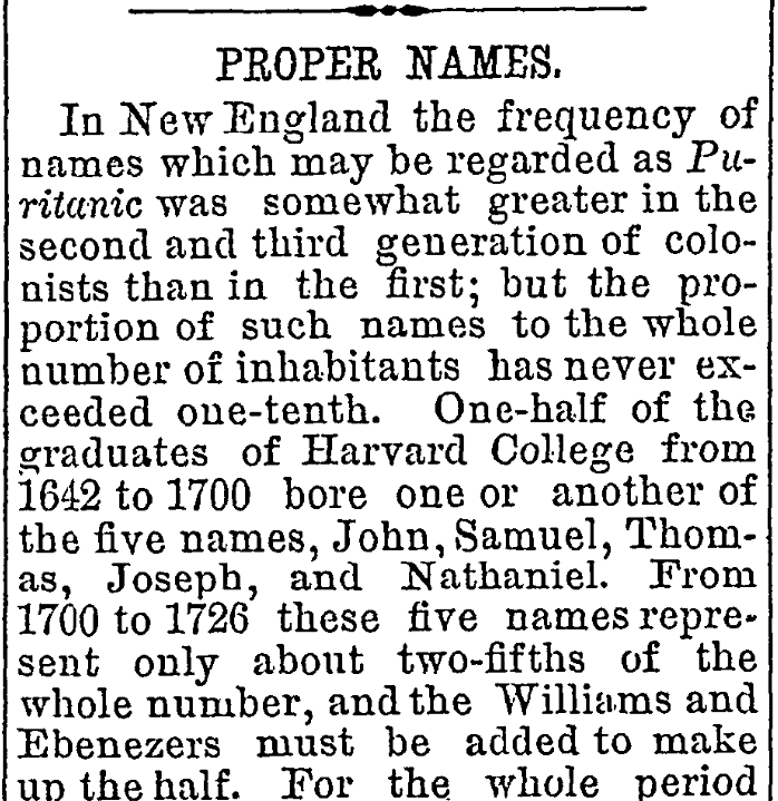 An article about names in colonial America, Congregationalist newspaper article 4 June 1874