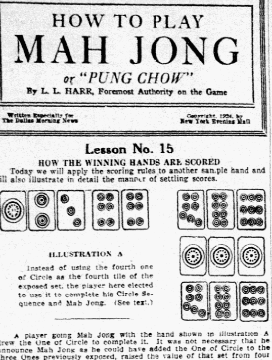 An article about Mah Jong, Dallas Morning News newspaper article 18 February 1924