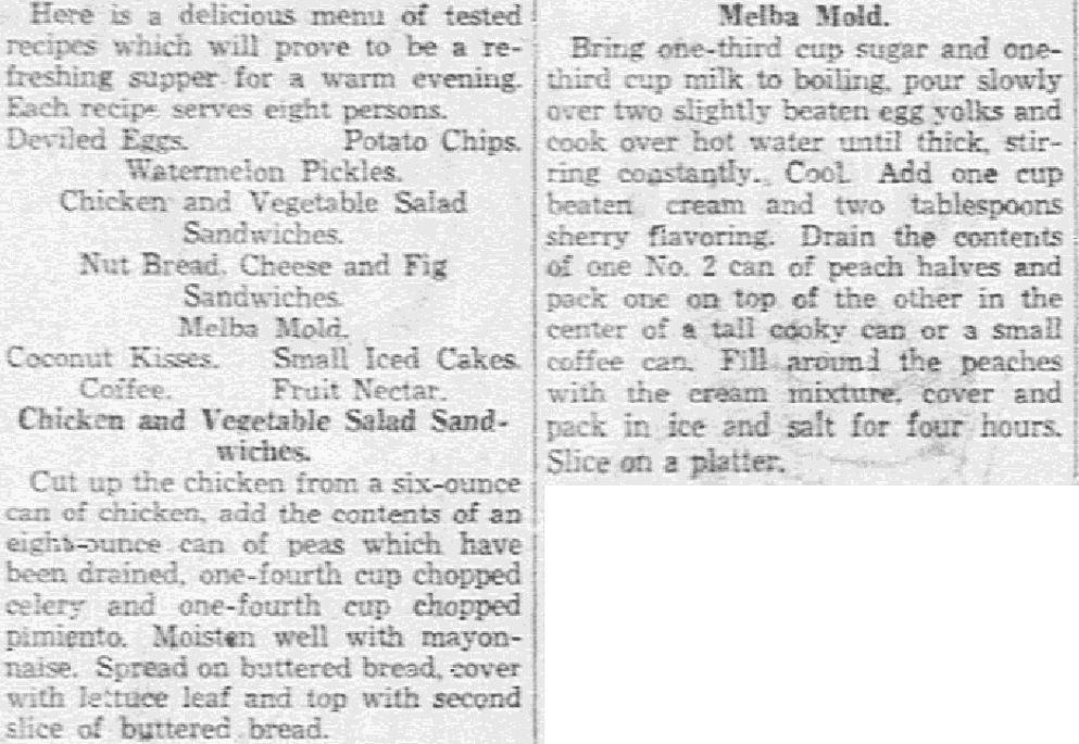 Recipes for the Fourth of July, Dallas Morning News newspaper article 29 June 1934