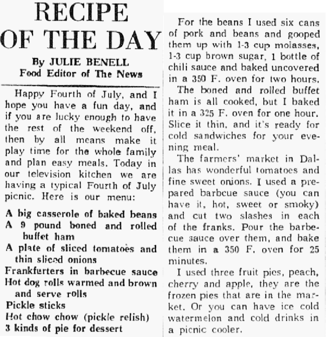 Recipes for the Fourth of July, Dallas Morning News newspaper article 4 July 1963