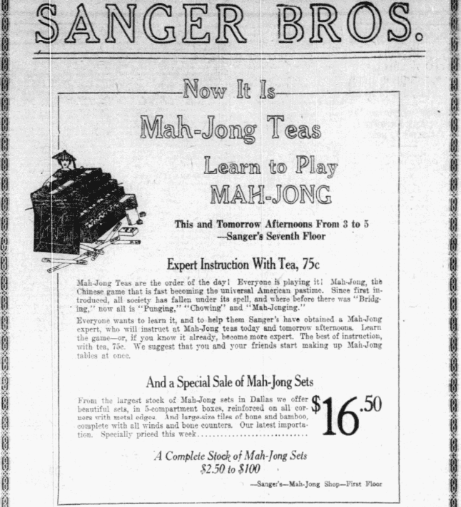 An ad for Mah Jong, Dallas Morning News newspaper advertisement 19 October 1923