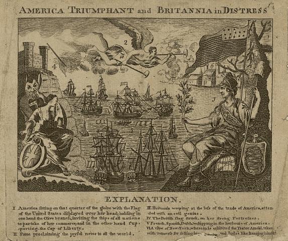 "Illustration: America (Columbia) v. Great Britain, from the ""Boston Almanac,"" 1782"