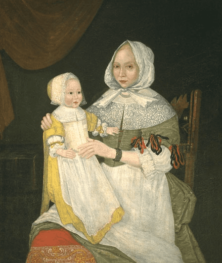 Illustration: Elizabeth Clarke Freake (Mrs. John Freake) and baby Mary, artist unknown, c. 1673, showing the Puritan ideal of feminine hair style